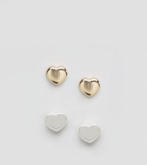 Orelia Tiny Heart Earrings - 2 Pack