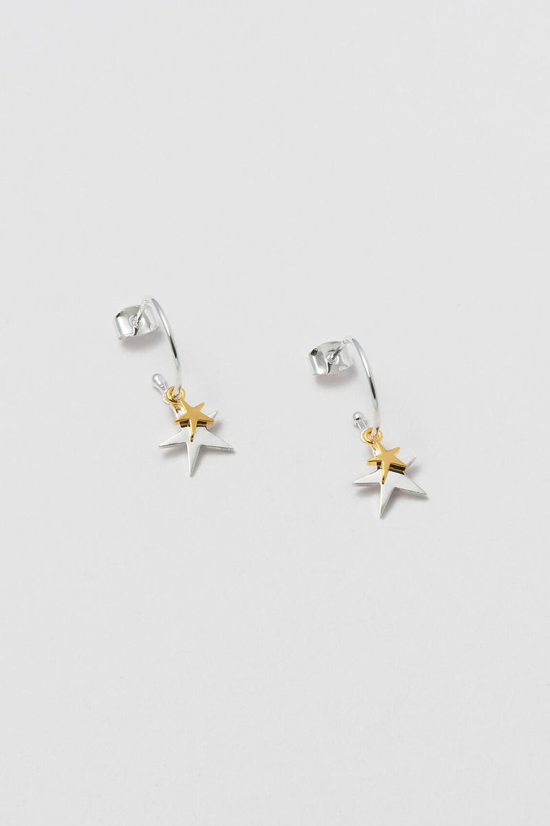 Estella Bartlett Double Star Drop Hoop Earrings