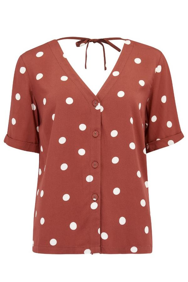 Sugarhill Brighton Emeline Polka Dot Tie Back Shirt