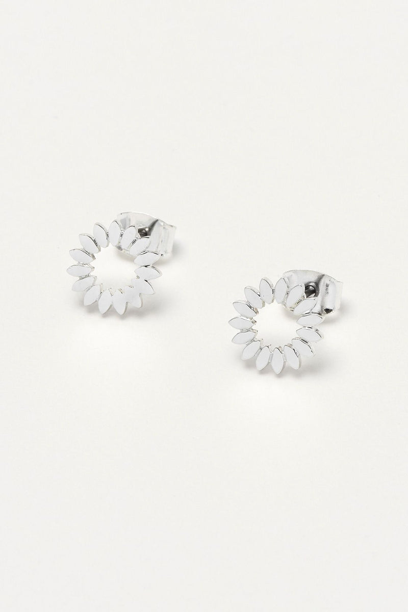 Estella Bartlett Silver Plated Modern Flower Earrings