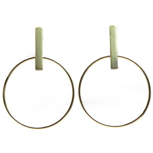 Brushed Bar With Round Drop Earrings - Gold or Silver