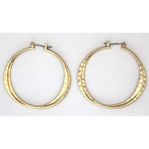 Hammered matt hoop earrings