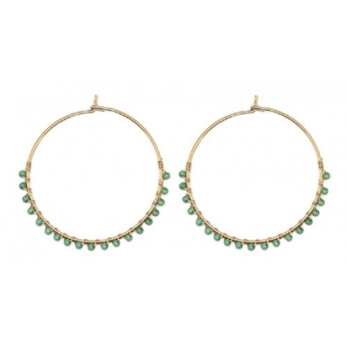 Gold hoops with Mint or Yellow Beads