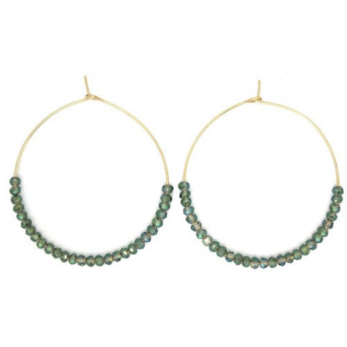 Large Round Hoop with Green Glass Beads Earrings - Gold or Silver