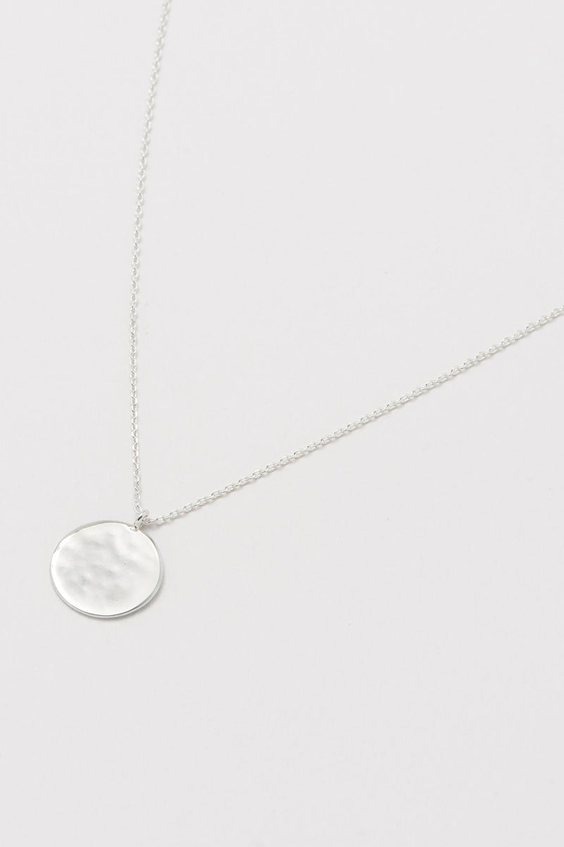 Estella Bartlett Silver Plated Hammered Disc Necklace