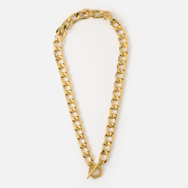 Orelia Chunky Chain Hexagon T-Bar Necklace
