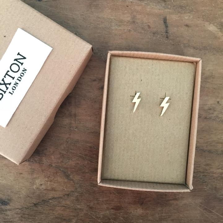 Sixton Golden Lightning Bolt Earrings