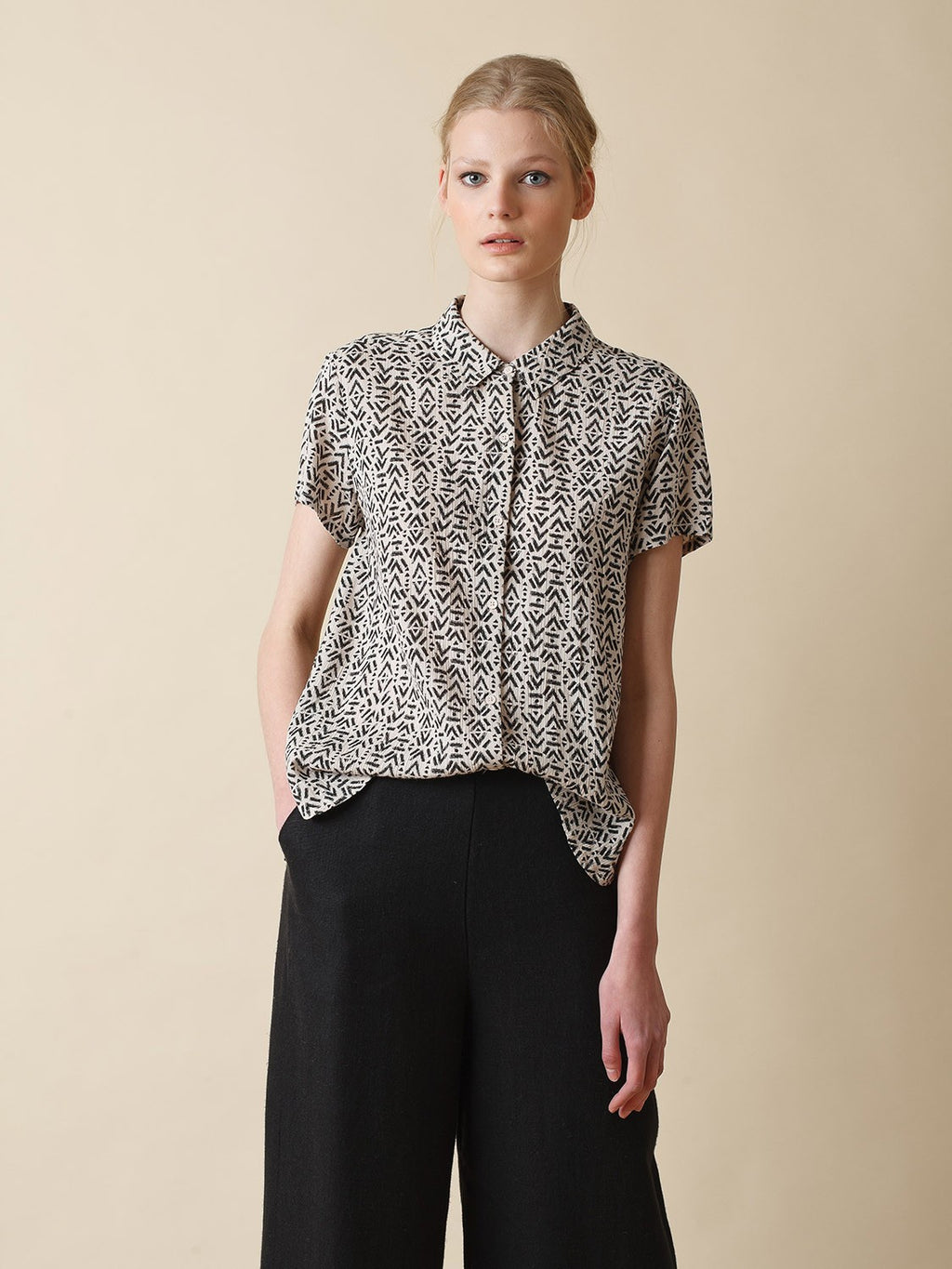 Indi & Cold Fluid Shirt with Ethnic Print