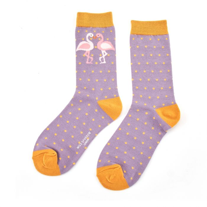 Miss Sparrow Kissing Flamingo Socks