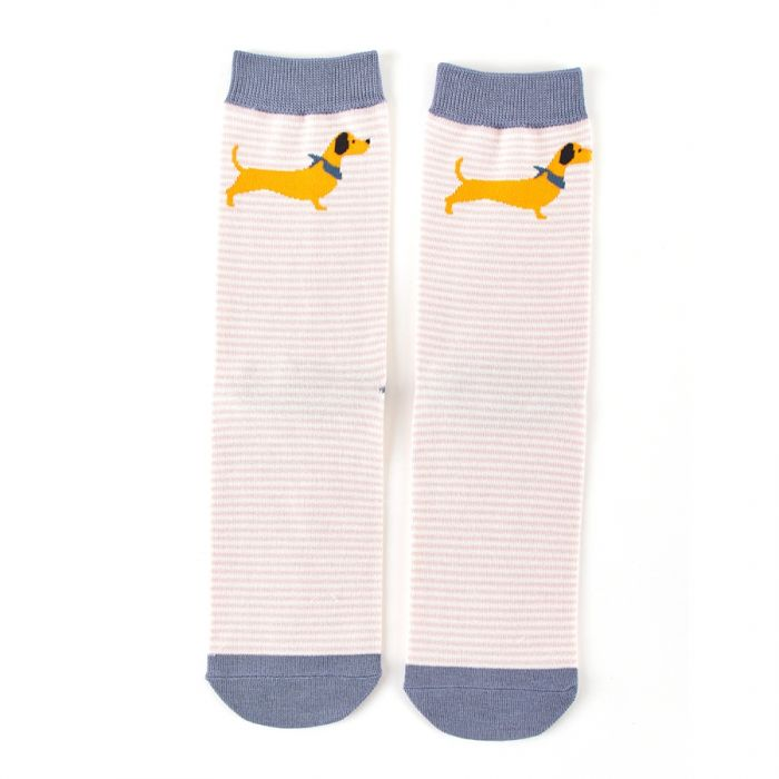 Miss Sparrow Bamboo Dog Stripe Socks - Pink
