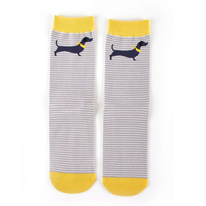 Miss Sparrow Bamboo Dog Stripe Socks - Silver