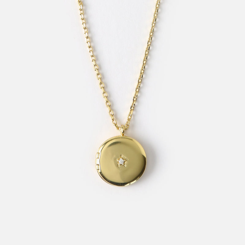 Orelia Mini Round Locket Necklace