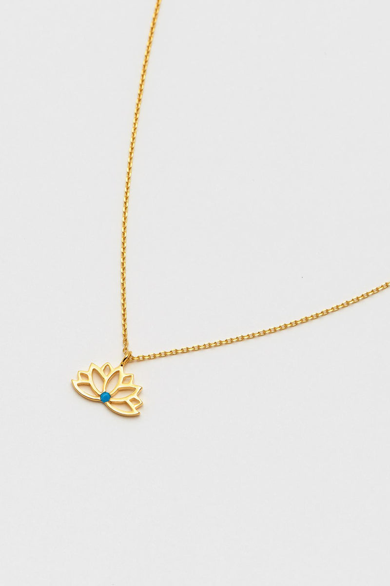 Estella Bartlett Lotus Necklace with Turquoise Stone