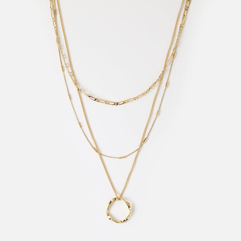 Orelia Open Circle Three Row Necklace