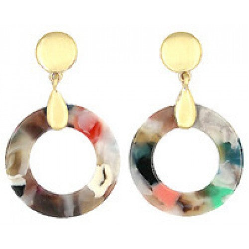 Round Resin Earrings with Brushed Gold Earring