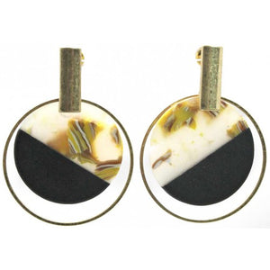 Metal earrings with round resin circles