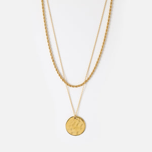 Orelia Rope & Coin Two Row Necklace