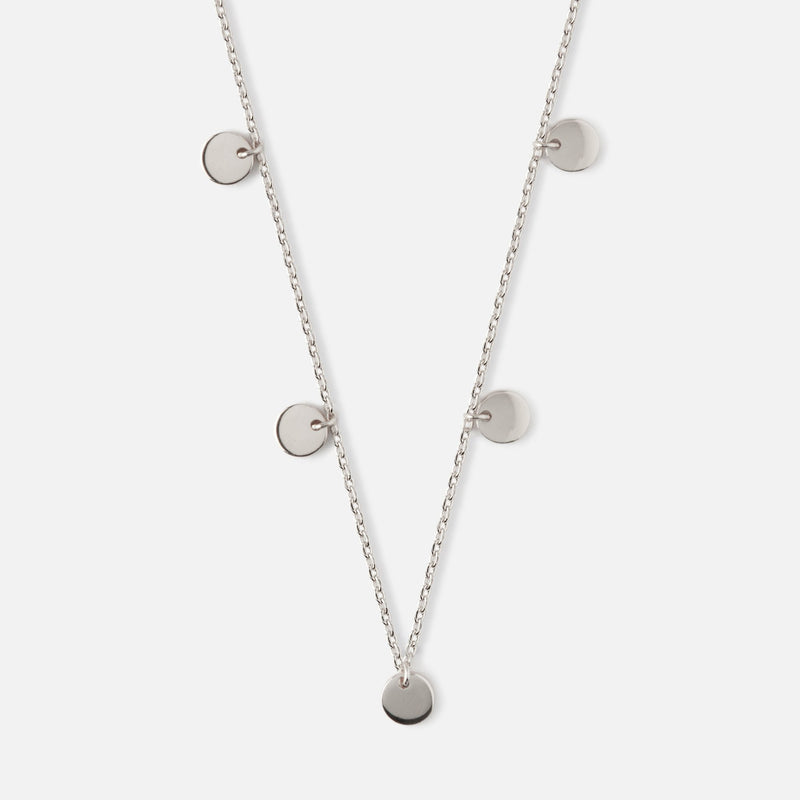 Orelia Multi Disc Drop Necklace - Silver