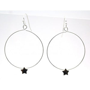 Hoops With Star Beads - Gold or Silver