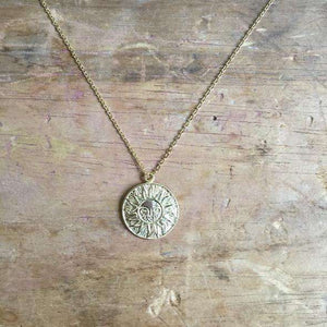 Sixton Boho Sun Medallion Gold Necklace