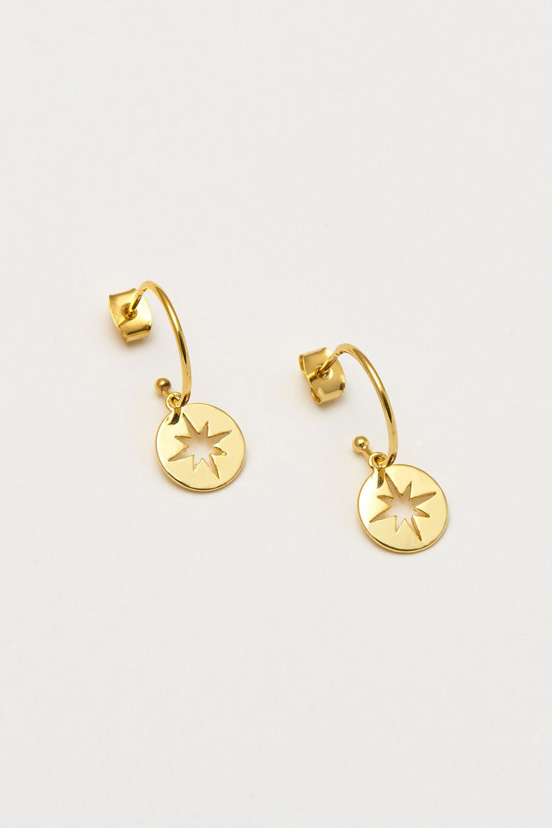 Estella Bartlett Gold Plated Starburst Disc Drop Earrings