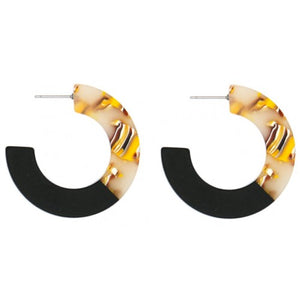 Two Toned Coloured Resin Earrings - Black/Yellow