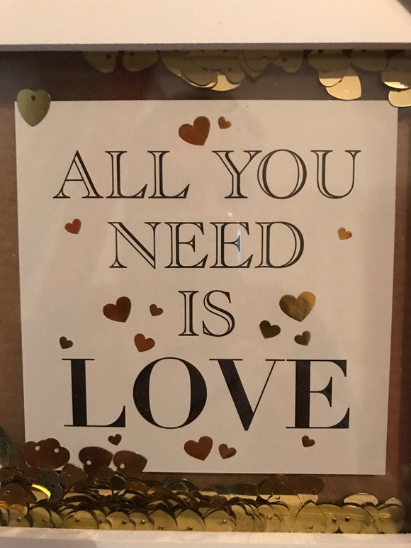 White and Gold Confetti Frame - all you need is love