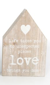 House shaped wooden plaque - love brings you home