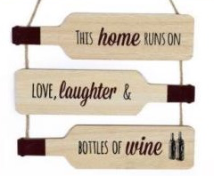 Home runs on wooden wine bottle wall plaque