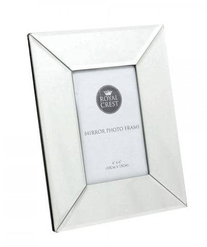 "Mirrored 4""x6"" glass photo frame"