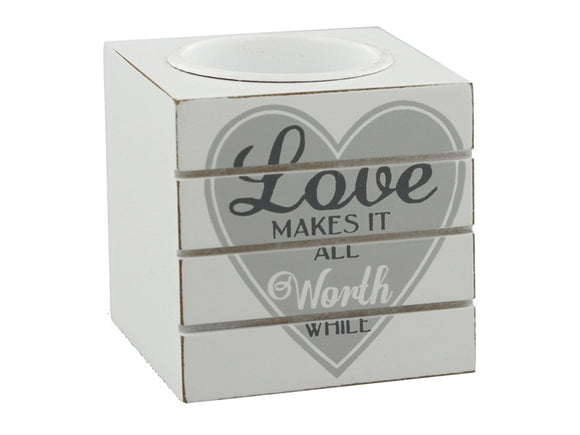 Grey 'love' tea light holder