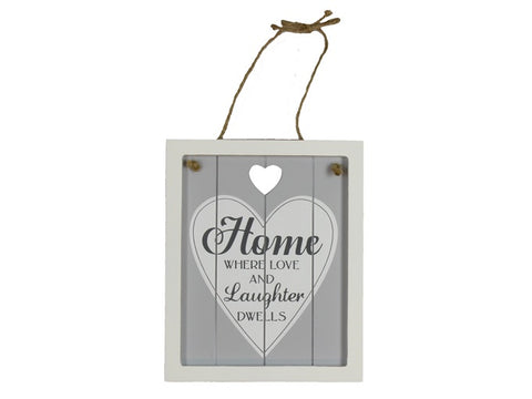 Shabby grey 'home' hanging sign