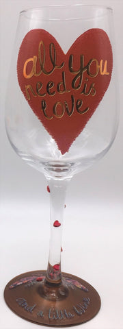 Here's To You All You Need Is Love Wine Glass (Papersalad)