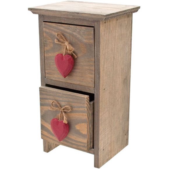 Driftwood mini red heart drawers