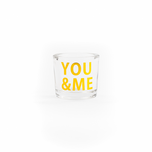 You & me gold glass candle pot