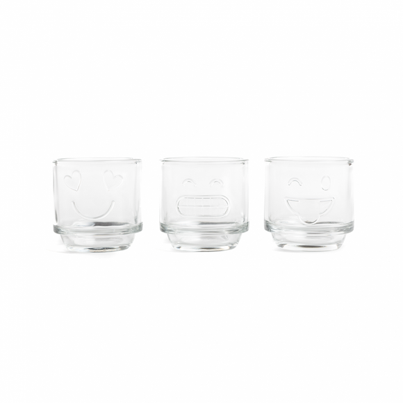 Emoji glass tea light jar set