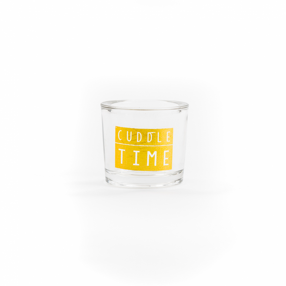 Cuddle time gold glass candle pot