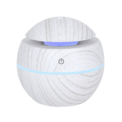 Small Round Grey Grain USB Powered Aroma Diffuser 150ml + FREE Bottle Of Oil