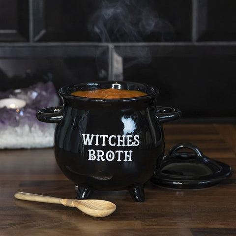 Cauldron Soup Bowl Witches Broth with Broom Spoon