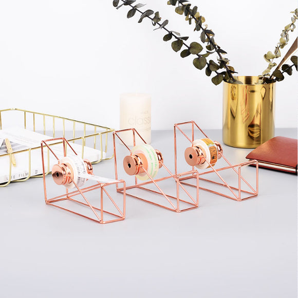 Rose Gold Wire Framed Tape Dispenser - The Stationery Booth