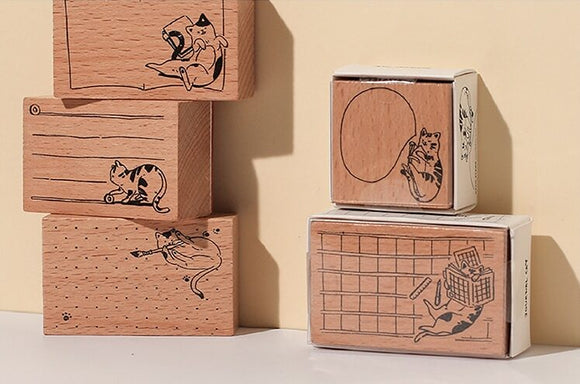 Wooden Cat-themed Memo Stamps - The Stationery Booth