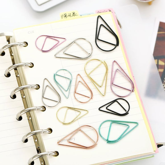 Tear Drop Paper Clips - 50 assorted colors - The Stationery Booth