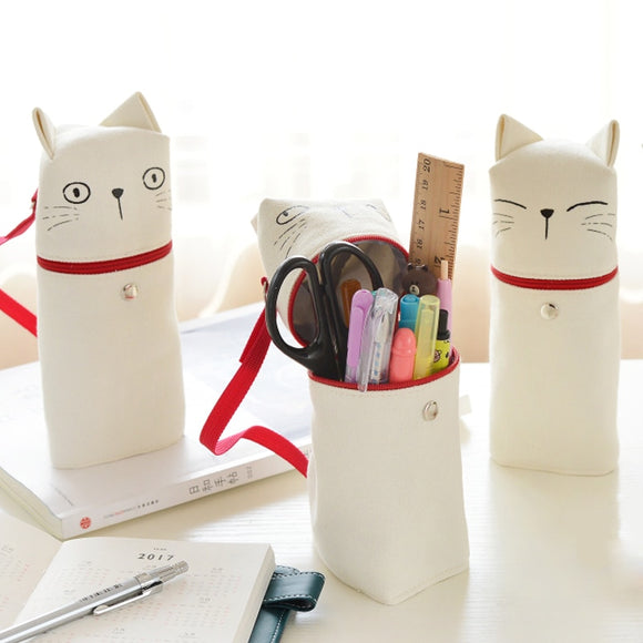 Kitty Emoticon Standing Pencil Case - The Stationery Booth