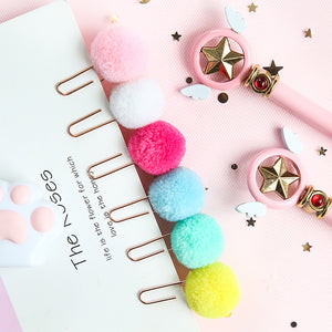 Pompom Rose Gold Paper Clips - set of 6 - The Stationery Booth
