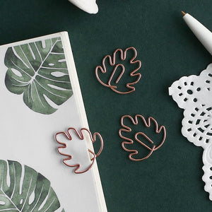 Plant Series Rose Gold Paper Clips - Set of 8 - The Stationery Booth