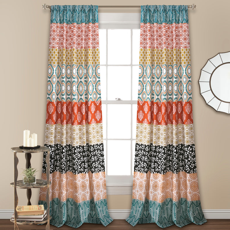 Bohemian Stripe Window Curtain Panels Turquoise/Orange 52X84 Set