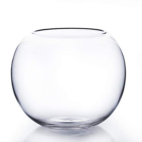 "WGV Bowl Glass Vase, Diameter 10"", Height 8"", Open Width 6"", Clear Bubble Planter Terrarium Container, Fish Bowl for Wedding Party Event, Home Office Decor, 1 Piece"
