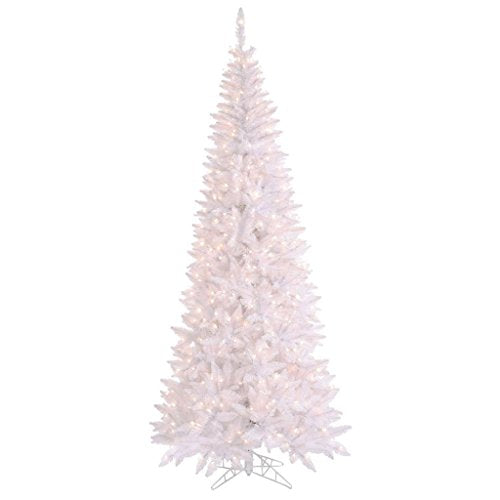 "Vickerman 430255 - 108"" White Slim Tree with 700 Clear LED Lights Christmas Tree (K160181LED)"