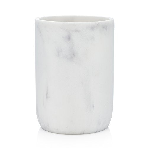 EssentraHome Blanc Collection White Bathroom Tumbler Cup for Vanity Countertops, Also Great As Pencil Pen Holder and Makeup Brush Holder