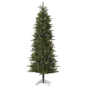 Vickerman Pre-Lit Carolina Pencil Spruce Tree with 350 Multicolored Mini Italian LED Lights, 6.5-Feet, Green